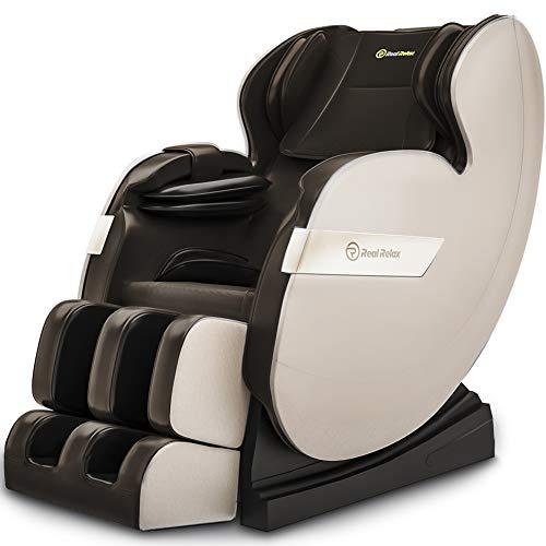 Real Relax 2020 Massagesessel, Zero Gravity für Ganzkörper mit Heizung und Fußrollen Bluetooth und LED-Licht Braun