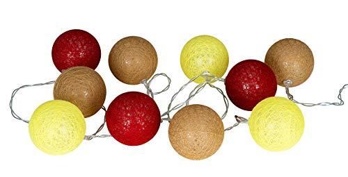 levandeo 10er Lichterkette LED Kugeln Lampions Baumwolle Rot Gelb Braun Cotton Girlande Deko Cottonballs