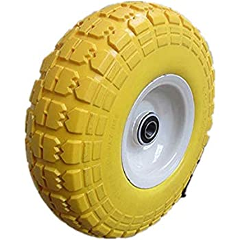 "Kunhua 11-pu-y-dh-16p 4.10/3.50-4"" Flat Free Hand Truck/Utility Tire, 2.25"" Offset Hub, 5/8"" Ball Bearings, 10"" Tire Diameter,knobby Tread"
