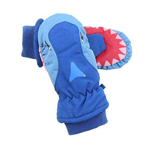 PT-KMKMING Kinder Cartoon Shark Winter Handschuhe Unisex Warme Wasserdichte Outdoor Wandern Ski Handschuhe Fäustlinge