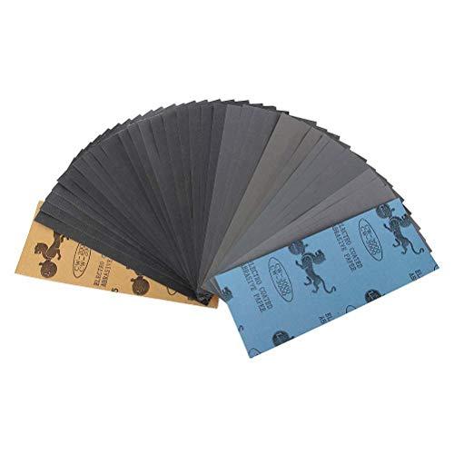 Lot de 45 papier a poncer, HRYSPN Papier Sec à l'Eau 120/150/180/220/240/320/400/600/800/1000/1200/1500/2000/2500/3000 3 Feuilles/Grain, 23 x 9cm