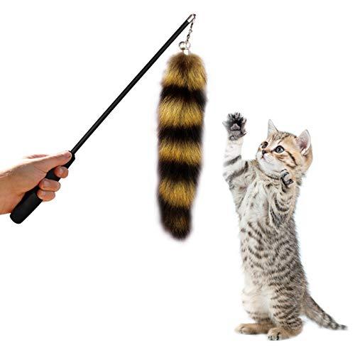 FayTun Cat Toys Teaser Wand, Juego de varita interactiva telescópica retráctil de tres secciones, juego de juguetes interactivo, juguete interactivo con cola de zorro a rayas con campana para