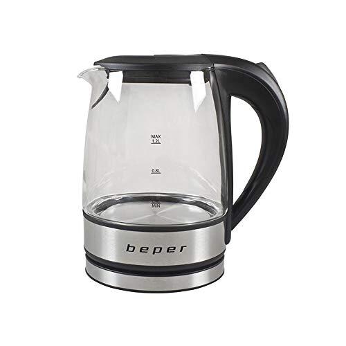 BEPER Hervidor de Agua Eléctrico, Negro, 1,2 litros
