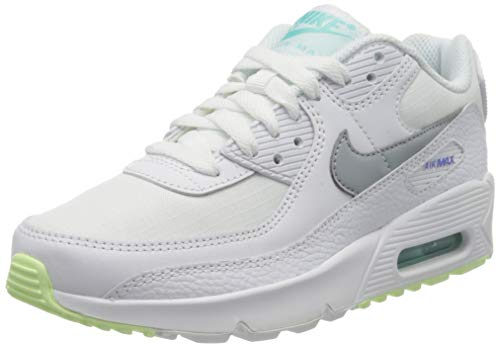 Nike Girls AIR MAX 90 GS Running Shoe, White/LT Smoke Grey-Laser ORANGE, 36 EU