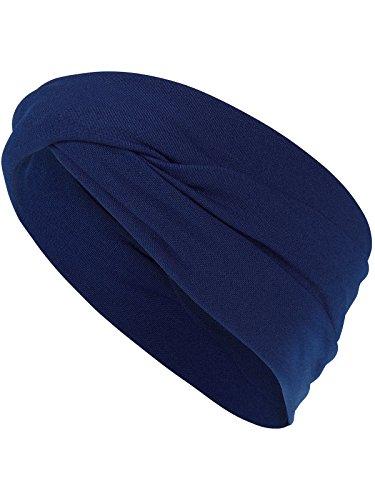 Harrys-Collection Haarband oder Stirnband in 16 Verschiedenen Unifarben Turban, Farben:marine, Kopfgröße:Einheitsgröße