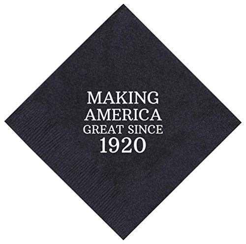 """100th Birthday Gifts Making America Great Since 1918 100th Birthday Party Supplies 50 Pack 5x5"""" Party Napkins Cocktail Napkins Black"""