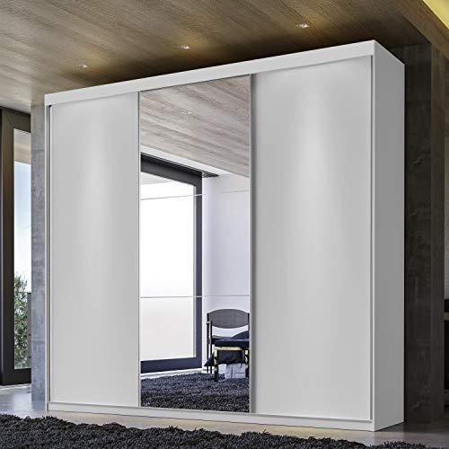Guarda Roupa Casal com Espelho 3 Portas e 4 gavetas Gravatá Espresso Móveis Branco