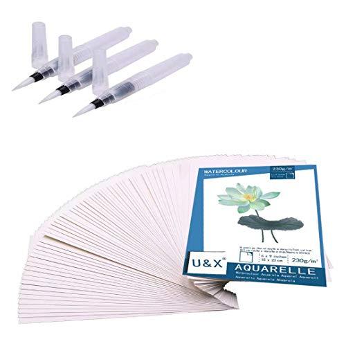 Aquarellpapier Weiß A5 60 Blätter Künstlerpapier 100% Baumwolle Cold Press kaltgepresst Zeichenpapier und Pinsel Stifte 3 Stück