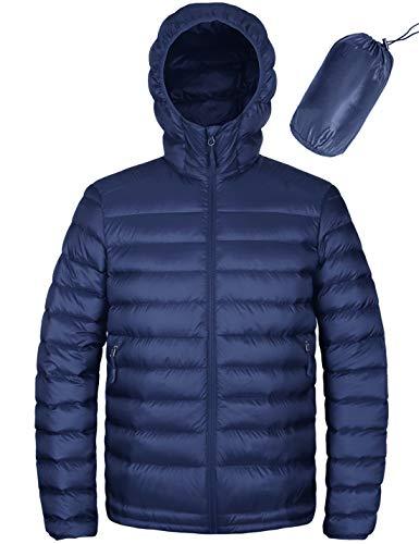 HARD LAND Homme Doudouneen Capuchonné Peut être Emballé Doudoune Légère Veste d'hiver Imperméable Bleu Royal Taille XXXL