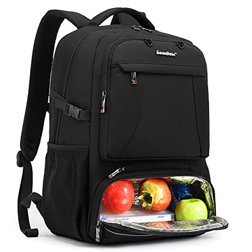 CoolBELL Lunch Backpack 15.6 Inches Laptop Backpack Bags with Insulated Compartment / USB Port Water-resistant Hiking School Backpack for College Student Business Work Travel Men Women (Black)