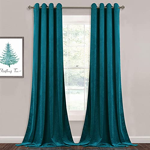 StangH Velvet Curtains 96 inch - Living Room Blackout Curtains Heavy Duty Grommet Top Drapery Panels for Bedroom/Guest Room, Teal, 52 x 96 inches, 2 Panels