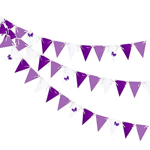30 Ft Purple White Triangle Flag Butterfly Banner Bunting Double Sided Pearl Paper Pennant Garland for Baby Shower Bridal Wedding Shower Birthday Anniversary Christenings Lavender Party Decorations