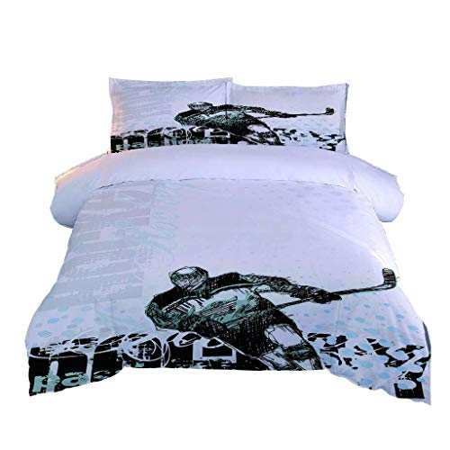 LMHWW Bedding Set,Duvet Covers King Size Hockey Player 3D Printing Ultra Soft Microfibre Duvet Cover Quilt Bedding Set With Zipper Closure (230X220cm + 2 Pillowcases 50X80cm)