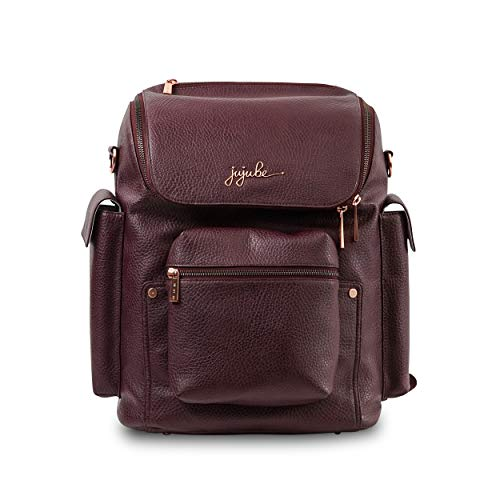 JuJuBe Forever Backpack Multi-Functional Vegan Leather Diaper Bag, Ever Collection - Plum