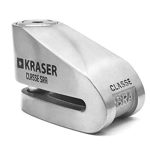 KRASER KR114S Bloccadisco Omologato Sra Lucchetto Antifurto, Scooter Moto, Albero di Bloccaggio da 14 mm, Blocco del Disco, 3 Chiavi + Reminder Cavetto, Acciaio Inossidabile