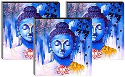 SAF 6 MM Buddha UV Textured Self Installation Digital Reprint 12 inch x 12 inch Painting (Pack of 3) SAFJG7259-3