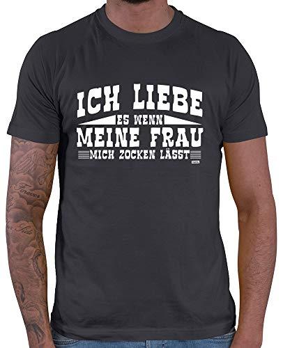 Hariz – Camiseta para hombre, diseno con texto en aleman \Ich Liebe Es Zocken Gamer Gaming incluye tarjeta de regalo gris oscuro XL