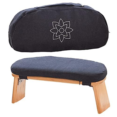 Mindful & Modern Folding Meditation Bench with Removable Velvet Cushion & Travel Bag | Locking Magnetic Hinges | Wooden Seiza Kneeling Stool for Zen Meditating Posture | Ergonomic Bamboo Yoga Chair