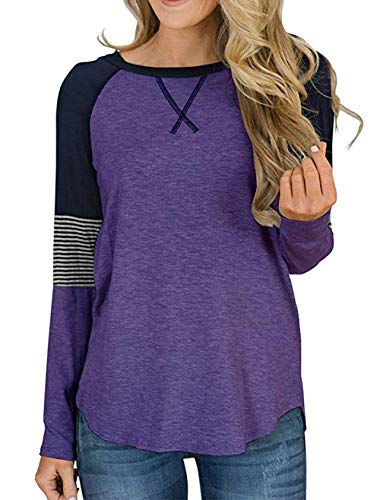 Aswinfon Camiseta de Manga Larga para Mujer Casual Cuello Redondo tee T-Shirt Tops Damas (Morado, M)