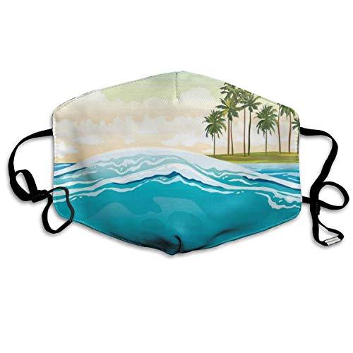 Shinyzone Cómodo y resistente al viento M-a-sk, isla de coco sobre majestuosa ola en el océano, paisaje festivo impreso, decoraciones faciales para hombres y mujeres