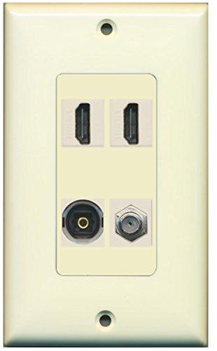 2 Port HDMI and 1 Port USB A-A Decorative Wall Plate Light Almond RiteAV