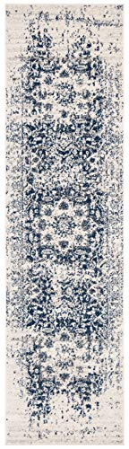Safavieh Madison Collection MAD603D Oriental Snowflake Medallion Distressed Runner, 2'3' x 6' , Cream / Navy