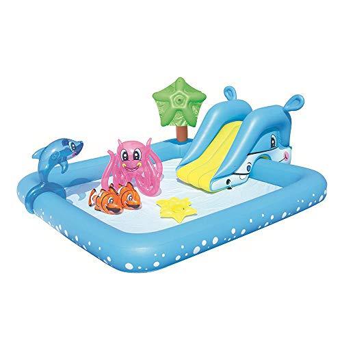 Piscina para Niños con Toboganes, Piscina Infantil Hinchable para Niños con Chorro De Agua, Piscina De Baño Engrosada De Gran Tamaño, 239X206x86cm