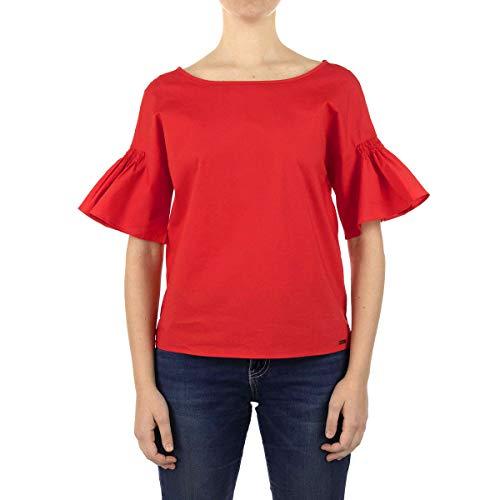 Armani Exchange Ruffle Blouse Blusas, Amapola Roja, M para Mujer