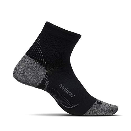Feetures - Plantar Fasciitis Relief Ultra Light Cushion Sock - Quarter - Stütze des Fußgewölbes für Herren & Damen - Schwarz - Größe L