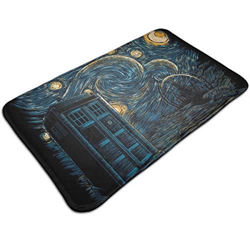 HUTTGIGH Starry Gallifrey Doctor Who Tardis Van Gogh - Felpudo antideslizante para puerta de entrada, alfombra de baño, alfombra de cocina, 44 x 81 cm, absorbente