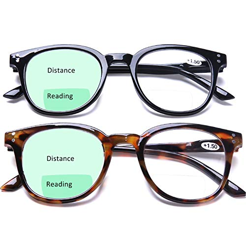 Bifocal Reading Glasses Lightweight Comfortable Fashion Readers with Spring Hinges for men women, 1.5