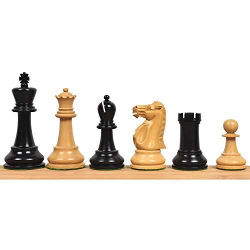 Juego de piezas de ajedrez Staunton de 9,9 cm, madera de ébano, triple pesado.
