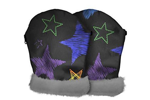 Tris&Ton Manoplas impermeables invierno silla de paseo, guantes prueba de viento forro polar para carrito carro cochecito (Tris y Ton) (stars colors)