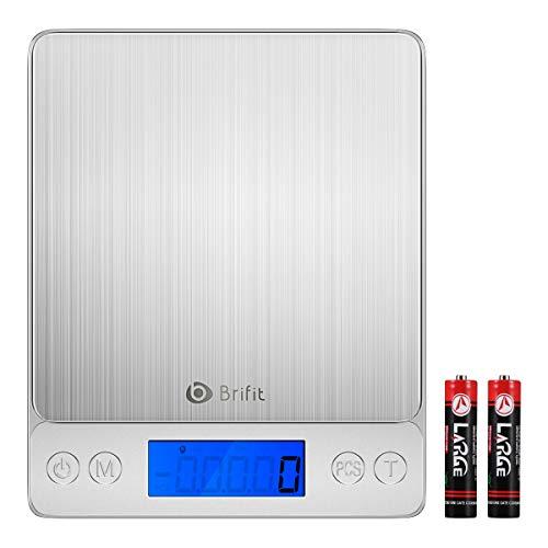 Brifit Digitale Küchenwaage, 5 kg, 5000 g Maximalgewicht, präzise, Multifunktionswaage, leichtes und langlebiges Design, Hintergrundbeleuchtung (Batterie im Lieferumfang enthalten)