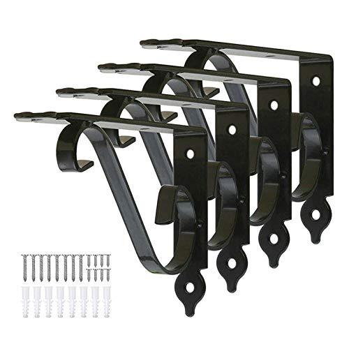 OWUV Estantes Escuadras Metal Vintage, un Conjunto de 4, Blanco/Negro, Soporte Estante Decorativo Flores montado en la Pared, Creativo Soporte de triángulo de Hierro Forjado, Estante para Libr