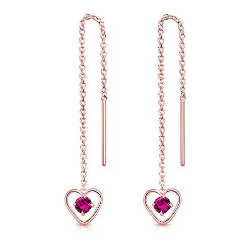 DTPsilver Pendientes con Cadena y colgante - Corazón con 3 mm Cristal Swarovski Elements - Plata de Ley 925 Plateado en Oro Rosa - Longitud 68 mm - Color: Fucsia