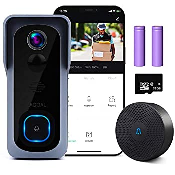WiFi Video Doorbell Camera Agoal Wireless Doorbell Camera with Chime 1080P HD Home Security Smart Doorbell Camera with 32GB SD Card Installed 166° Wide Angle PIR Motion Detector Night Vision
