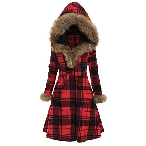 PLOT Damen Mantel Winter Plaiddruck Trenchcoat mit Pelzkapuze Faux Pelz Mantel Winter Warm Wollmantel Wolljacke mit Kapuze Oversized Parka Jacke Wintermantel