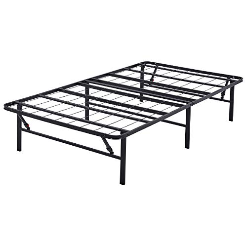 """Mainstays 14"""" High Profile Foldable Steel Bed Frame, Powder-coated Steel, Twin"""