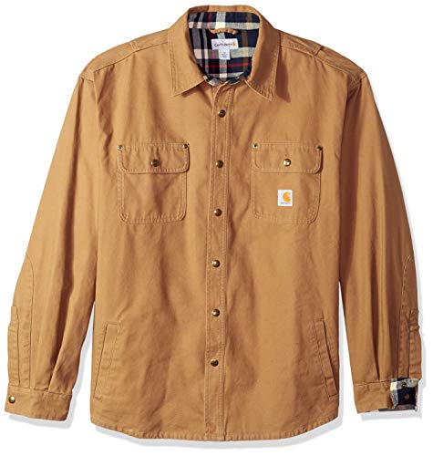 Carhartt Men's Weathered Canvas Shirt Jacket Snap Front,Frontier Brown,XX-Large