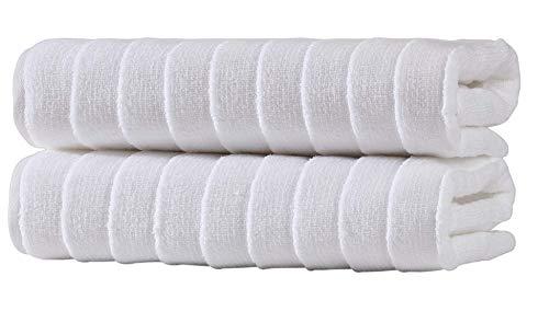 Bagno Milano Turkish Spa Towel Set, Non-GMO Turkish Cotton | Velvety Soft & Ultra-Absorbent | 2-pc Bath Towel, White