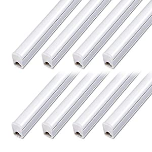 (Pack of 8) Kihung LED T5 Integrated Fixture 4FT, 20W, 2200lm, 6500K (Super Bright White),Utility led Shop Light, LED Ceiling Light and Under Cabinet Light, Corded Electric with Built-in ON/Off Switch