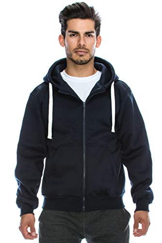 JC DISTRO Plus Size Hipster Hip Hop Basic Heavy Weight Zip-Up Navy Hoodie Jacket 6XL