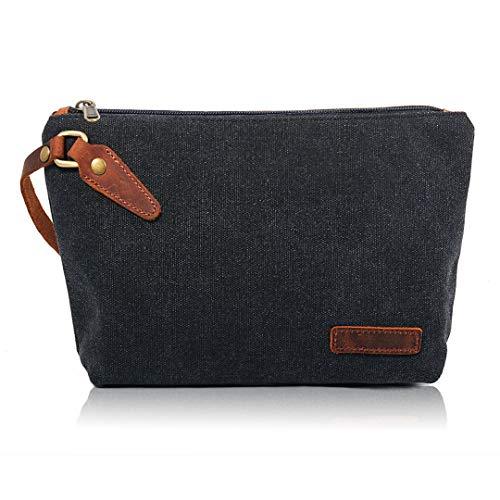 Zeamoco Canvas Wristlet Clutch Bag Large Wallet Pouch Phone Purse Handbag with Leather Strap for Women Men - Black