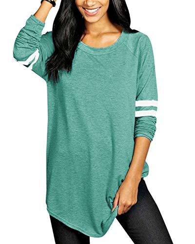 VONDA Blusas y Camisas de Mujer Manga Larga Elegante Camisa Camiseta Larga Rayas Casual Túnica Tops Jersey Largo A-Verde S