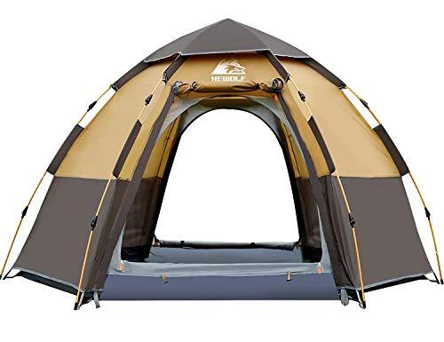 HEWOLF Camping Zelt 3-4 Personen Kuppelzelt Wasserdicht UV-Schutz Pop Up Zelt Doppelschicht Wurfzelt Sechseckiges Sekundenzelt Großes Familienzelt mit Regenfliege Tragetasche - Kamelbraun