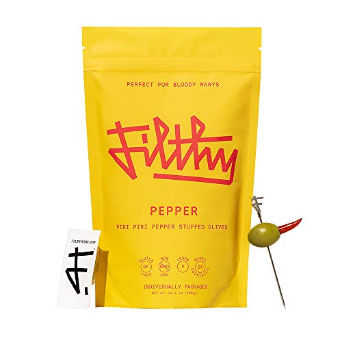 Filthy Food Pepper Stuffed Olives - Premium Martini Garnish - Non-GMO & Gluten Free - 24 Individually Wrapped Servings, 24 Olives Total