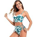 Domilay Bikini de Cintura Alta para Mujer Traje de Ba?O de Dos Piezas con Estampado Dividido Correas Bikini Traje de Ba?O Ropa de Playa M Verde