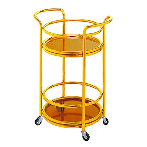 MHBGX Multifunction Portable Hand Trucks,Trolleyserving Trolley Drinks Movable Kitchen Stainless Steel Tempered Glass 2 Layer Rubber Wheel European Style, Load 20 Kg, 2 Styles, 2 Sizes,Gold-B-40 X 74