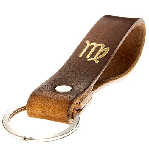 LIEBHARDT Schlüsselanhänger Leder mit Sternzeichen in Gold geprägt das Geschenk zum Geburtstag für deinen Lieblingsmensch ob Frau oder Mann Handmade in Germany (Jungfrau)